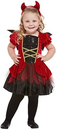 Fancy Ole - Mädchen Girl Kinder Teufelin Devil Toodler Kostüm, Kleid Flügle und Haarschmuck, perfekt für Halloween Karneval und Fasching, 98-104, Rot (Girl Halloween-kostüm Kind Devil)