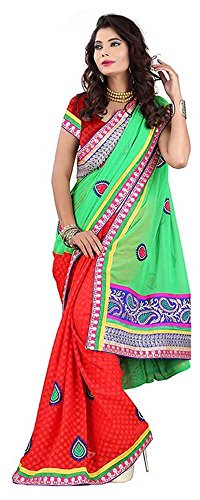Raghavjee Sarees Women's Brocade & Georgette Saree
