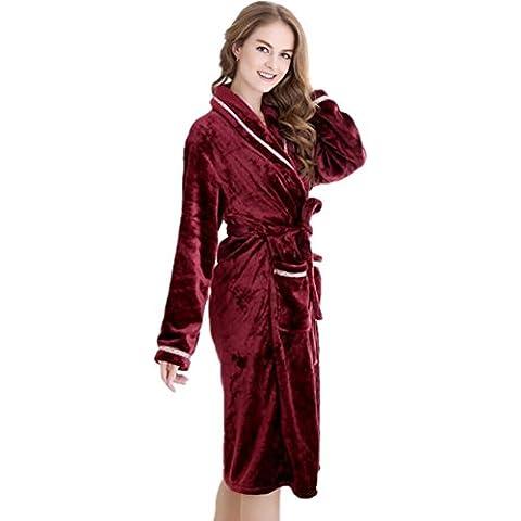 GJX Autunno e inverno Ladies flanella velluto Nightgowns Robe corallo
