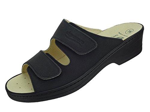 Algemare Damen Pantolette Asche Nubuk Keilpantolette mit Sani-pur Wechselfußbett Made in Germany 14462_0606 Freizeitschuhe, Größe:38 (Pur Komfort Schuhe)