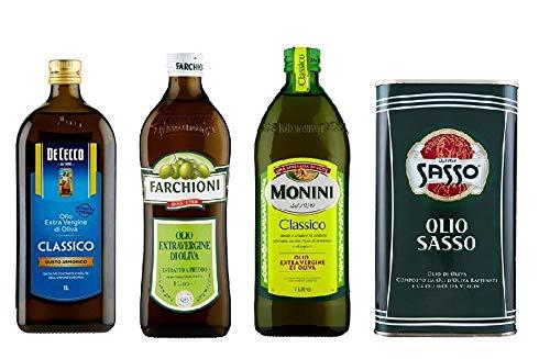 Testpaket De Cecco Monini Sasso Farchioni Olio Extra vergine D'oliva Natives Olive Olivenöl 1 Lt 100% Italienisch