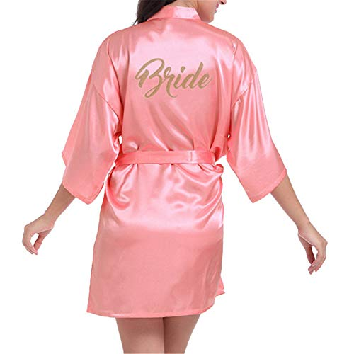 GODGETS Damen Satin Morgenmäntel Robe Kurzer Kimono Silk Bademäntel Nachtwäsche Negligee Rot 1 EU - Günstige Silk Robe