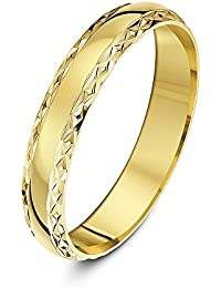 Theia 9 ct Yellow or White Gold, Diamond Shaped Edge Design, Polished, 4-7 mm Wedding Ring