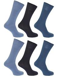 FLOSO - Chaussettes unies 100% coton (lot de 6 paires) - Homme