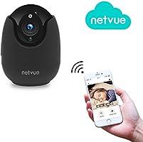 NETVUE Wireless IP Kamera Schwarz Kompatibel mit Alexa Echo Show, 360 Grad Weitwinkel, Netvue 1080P HD Home WiFi Sicherheit Überwachungskamera mit Bewegungserkennung(Britischer Regulierungsadapter)