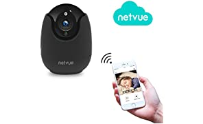 Netvue 720P Full HD WiFi Caméra de Sécurité IP Avec Alarme de Détection de Mouvement, Zoom Numérique 4x, Vision Nocturne et Audio Bidirectionnel, P2P Blanc, Noir