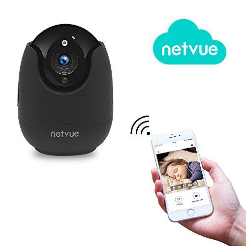 NETVUE Wireless IP Kamera Kompatibel mit Alexa Echo Show, 360 Grad Weitwinkel, Netvue Home WiFi Sicherheit Überwachungskamera mit Bewegungserkennung(Europa adapter) (EU-PT-1080_S) Wireless-sicherheit Kamera 1080