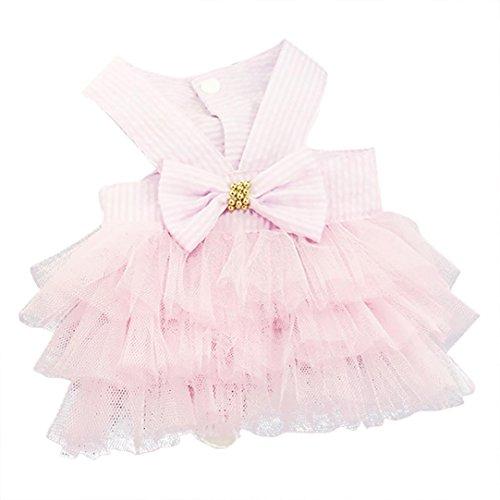 Vestido de perro, SunGren falda de burbuja Vestido de encaje a rayas Falda de tira a rayas para el perro mascota Vestidos de princesa rosa para perro(XS,Rosado)