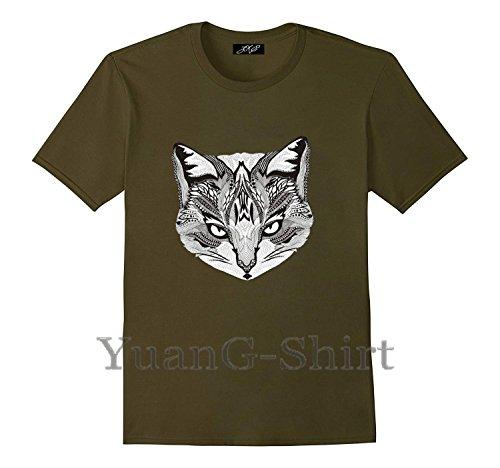 Cat Head Men's Short Sleeve New Cotton T-Shirt (Alpha Shirt Classic Polo)