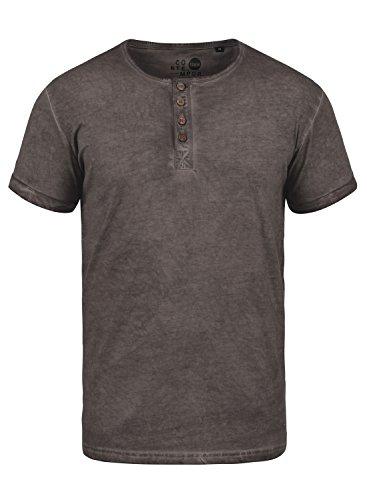 !Solid Tihn Herren T-Shirt Kurzarm Shirt mit Grandad-Ausschnitt aus 100% Baumwolle, Größe:S, Farbe:Coffee Bean (5973) - Baumwolle V-neck T-shirt T-shirt