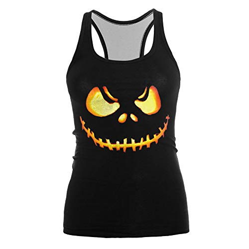 LOPILY Halloween Kostüme Damen Kürbis Gruselig Tshirts Faschungkostüme Damen Halloween Prints Muster Party Tank Halloween 3D Sweatshirt mit Horro Muster Halloween 3D Druck Racerback (C, - Stewardess Kostüm Übergröße