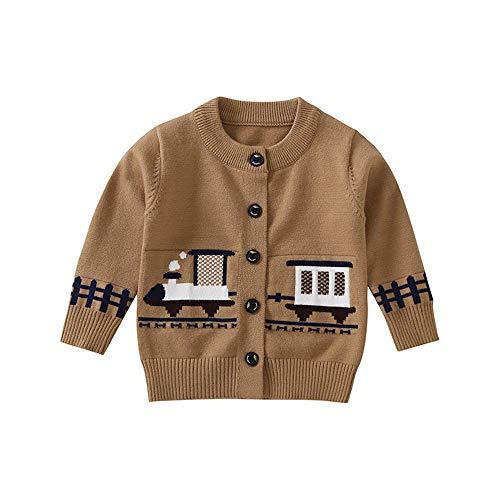 Baby Sweater, Kid Outfits, Kleinkind Baby Boy Mädchen Mantel, Reißverschluss Zug Cartoon Printing Coat Tops (Khaki, 4 Jahre Alt)
