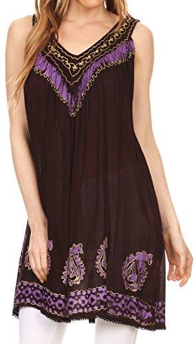 Sakkas 007A - Jodie gestickte Scoop Neck Tie Dye Top/Bluse - Aubergine/Purple - OS -