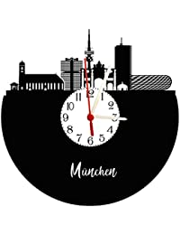 München Skyline – Reloj de pared con esfera, placa acústica Reloj con mecanismo de cuarzo