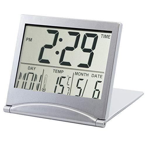 TRIXES Reloj Alarma de Mesa con Temperatura y LCD Digital en Color Plata