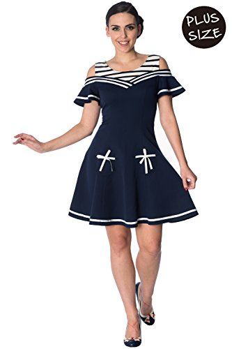Banned Set Segel 2 Fer Plus Size Nautische Retro-Kleid - Navy/UK-20