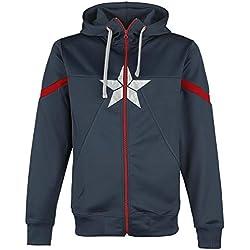 Capitán América Civil War - Star Logo Sudadera capucha con cremallera Azul oscuro XL