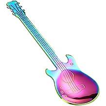 Babysbreath17 Acero Inoxidable de la Historieta de la Guitarra Cuchara café con Leche Helado de Caramelo