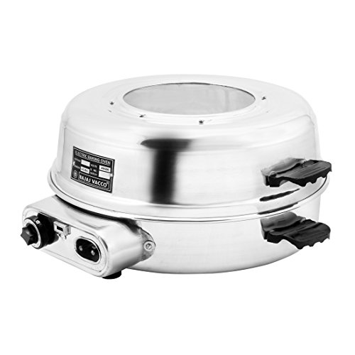 BAJAJ VACCO Hard-Anodized Aluminum Round Baking Grilling Auto Oven, 13-inch (Silver)