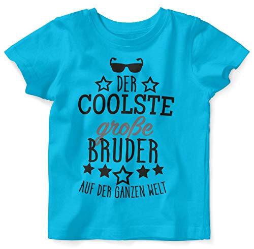Mikalino Baby/Kinder T-Shirt mit Spruch für Jungen Mädchen Unisex Kurzarm Der coolste große Bruder auf der ganzen Welt | handbedruckt in Deutschland | Handmade with Love, Farbe:Atoll, ()