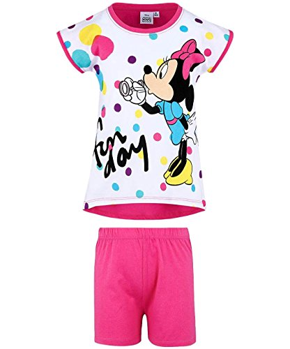 Minnie Mouse Pyjama Kollektion 2018 Shortie 86 92 98 104 110 116 122 128 134 140 Schlafanzug Kurz Shorty (Weiß-Fuchsia, 128)