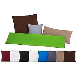 Conjunto de dos fundas de almohada, funda de almohada, fundas 100% algodón con cremallera - 10 colores y 4 tamaños marrón / chocolate 40 x 80 cm
