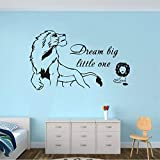 Lbonb Dream Big Little One Quote Wall Sticker Lion King Wall Decal Mural Vinyl Kids Room Nursery Wall Poster 70 * 42Cm