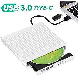 Lecteur CD/DVD Externe, Kingbox USB 3.0 Type C Graveur DVD Externe CD Portable Léger et Mince pour Ordinateurs Portables,Compatible avec Windows XP/2003/Vista/7/8.1/10, Linux, Mac OS (Blanc)