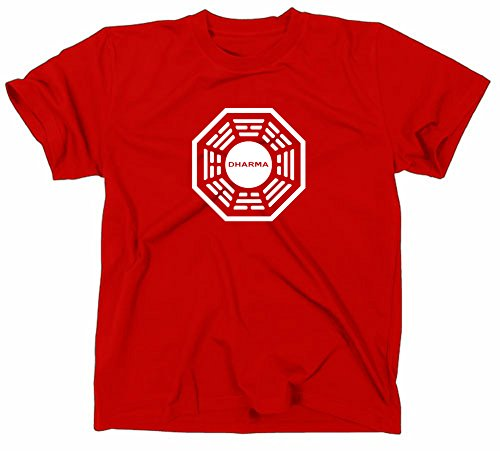 Lost dharma logo-maglietta iniziativa, serie tv rosso rosso