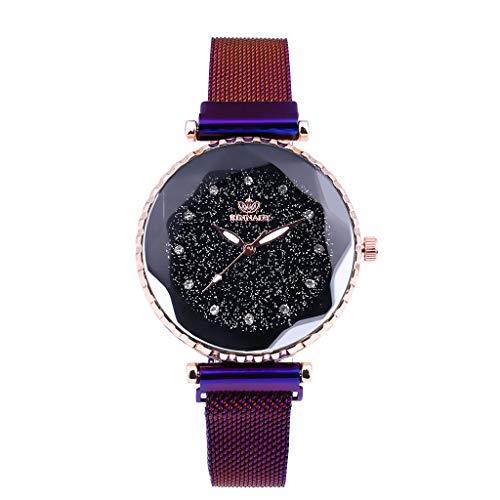SHE.White Damen Quarz Dial Uhr Mesh Metallarmband Armbanduhr Runde Gehäuse Klassiker Crystal Dial Damenuhren Uhren mit Strass