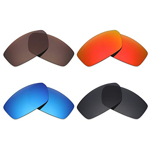 Mryok 4Paar Polarisierte Ersatzgläser für Spy Optic Dirty Mo Sonnenbrille-Stealth Schwarz/Fire Rot/Ice Blau/Bronze Braun