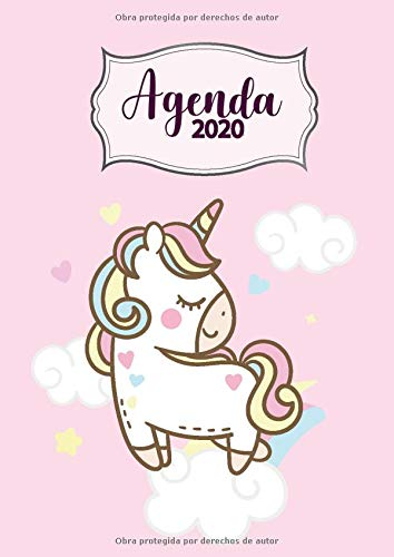 Agenda 2020: Tema Unicornios Rosa Agenda Mensual y Semanal + Organizador Diario I Planificador Semana Vista A4