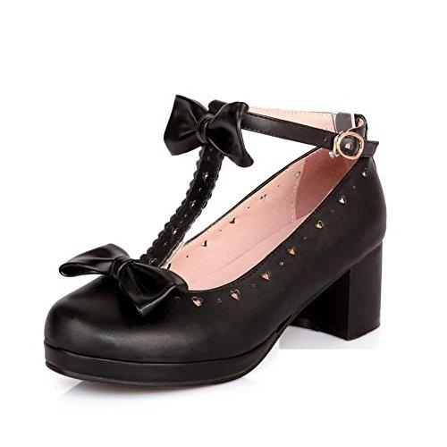 Chaussures Unie Souple Couleur Correct Légeres Noir Matière VogueZone009 à Talon Femme Zx8wE0ZqT7