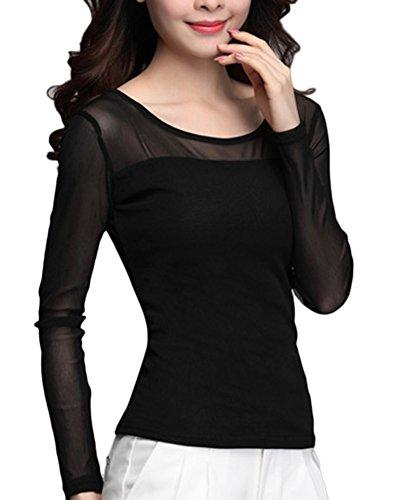 Guiran Top Femmes Manches Longues T-Shirt Chemise Chemiser Blouse Clubwear Soirée Casual Lâche Noir