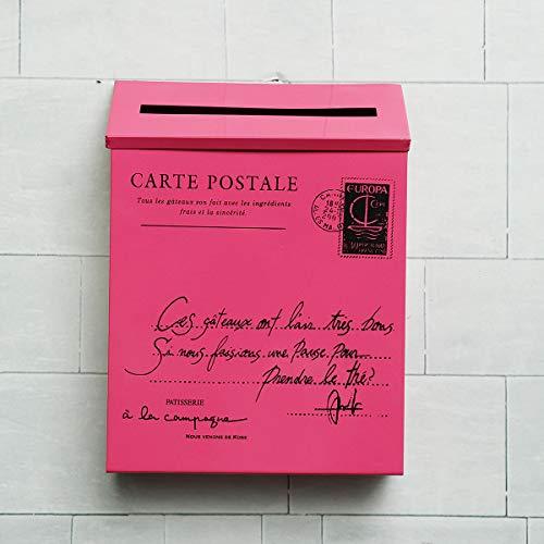 RanDal Rétro Métal Verrouillable Poste Mail Boîte Maison Balcon Jardin Lettre Rangement Boîte Aux Lettres Mur Monté - Rose