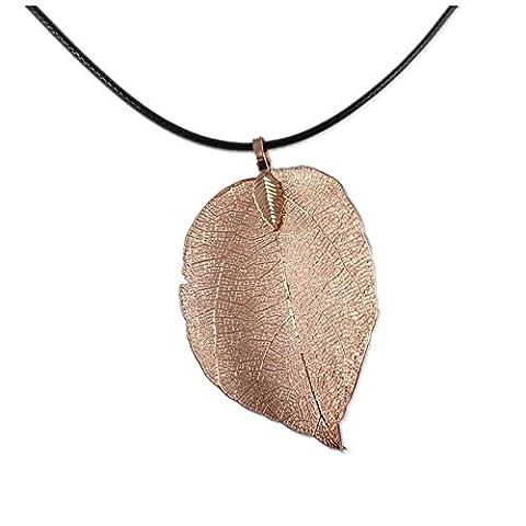 JulieWang Art- und Weisefrauen-mit Filigran geschmücktes reales Baum-Blatt-Halsketten-Kupfer-Gold überzogen