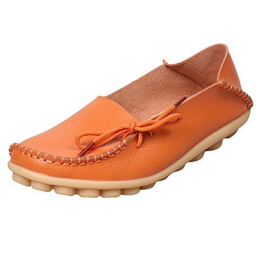 MatchLife Damen Vintage Leder Flach Ballerinas Casual Schuhe  , Farbe - Orange , Gr. 41 EU (Mary Jane-kaffee)