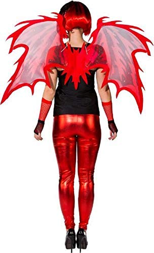 Ladies Red Fire Devil Demon Hell Halloween Flames Horror Fancy Dress Costume Outfit Accessory Wings