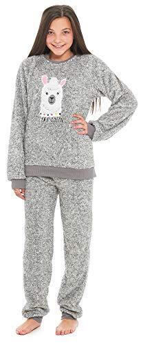 Slumber Hut® Mädchen Kinder Mops Hund Lama Luxus Vlies Pyjamas - Tier Neuheit Loungewear Twosie der Schlafanzug PJs - Grau Lama 13 Jahre