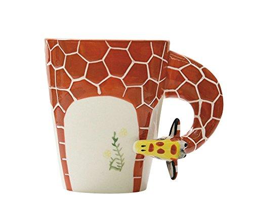 ouvin creativo pintado a mano 3d animales–Taza de porcelana tazas de cerámica, jirafa, Large