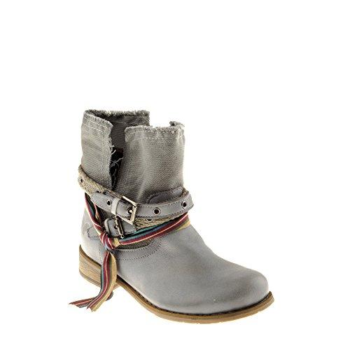 Bottes en Beja Chaussures avec Gris Cuir B135 Tomber Amour Véritable Felmini Biker Femme Gris Cowboy xTnCq8