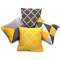 Collection of 4 Designs Yellow & Grey Linen Geometric 18 Inch Cushion Covers