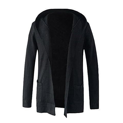 Zhuhaitf Homme Hoodie Mens Winter Casual Overcoat Sweatshirt Jacket Two Color