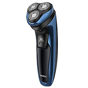 Electric Shaver, MUGU IPX7 Wet and Dry Rechargeable Waterproof Cordless Mens Rotary Shavers with Pop-up Trimmer - USB Charging
