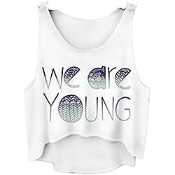 Da donna Top Estate Maglietta Varsity Camicetta Estate Vest Sleveless Bianco UK 6/8/10 We Are Young Taglia unica