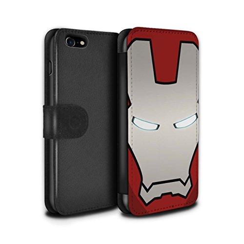 Stuff4® PU-Leder Hülle/Case/Tasche/Cover für Apple iPhone 8 / Rot/Silber Roboter Muster/Superheld-Helm Kollektion