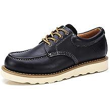 CAMEL CROWN Zapatos de Trabajo de Cuero para Hombres Botas No de Seguridad con Cordones de