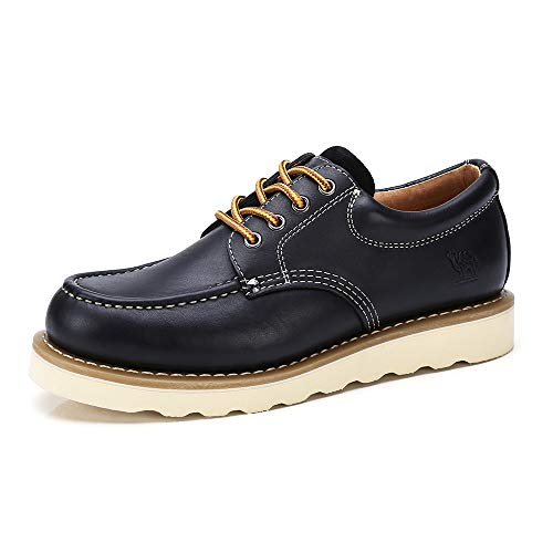 CAMEL CROWN Scarpe da Lavoro in Pelle da Uomo Scarpe con Risvolto e Stringate Stivali Non di Sicurezza Scarpe Casual Oxford