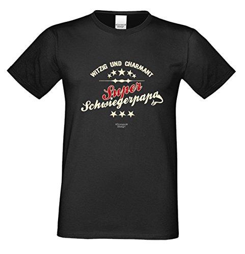 Sprüche-Fun-T-Shirt als Weihnachtsgeschenk für Ihren Papa Schwiegervater Super Schwiegerpapa auch in Übergrößen 3XL 4XL 5XL in: schwarz Schwarz