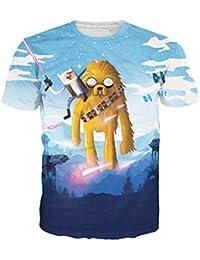 Ninimour Unisex Digitaldruck Cartoon Kurzarm T-shirt mit runder Ausschnitt